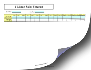30-Day Sales Forecast template