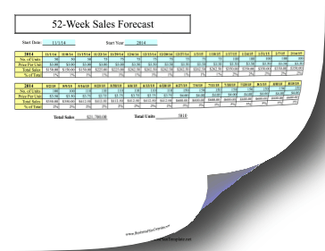 52-Week Sales Forecast template
