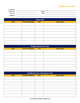Business Goals Worksheet template