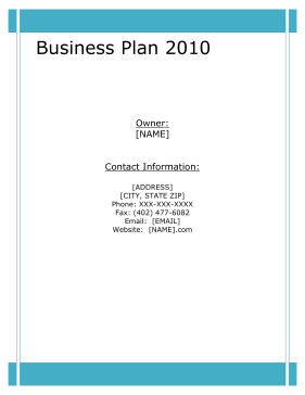 Appliance Repair Business Plan template