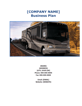 RV Repair Business Plan template