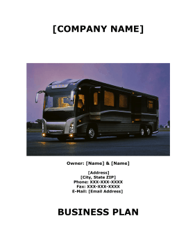 Tent Lodging And RV Park Business Plan template