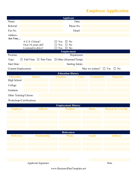 Employee Application template