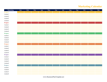 Marketing calendar for Color coded calendar template