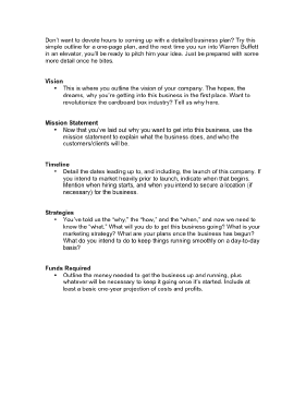 OnePageBusinessPlanpng - Business plan outline template