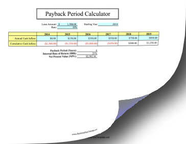 Payback Period template