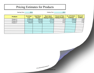 Pricing Estimates for Products template